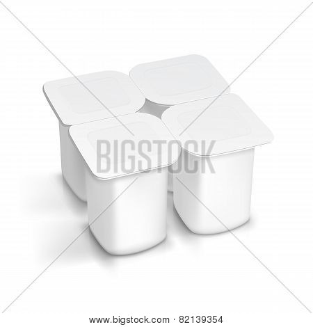 Set of Blank White Packaging Container for Yogurt