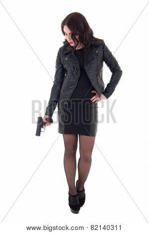 Young Attractive Woman Posing With Gun Isolated On White