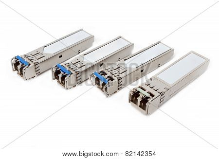 Optical Gigabit Sfp Modules For Network Switch On The White Background