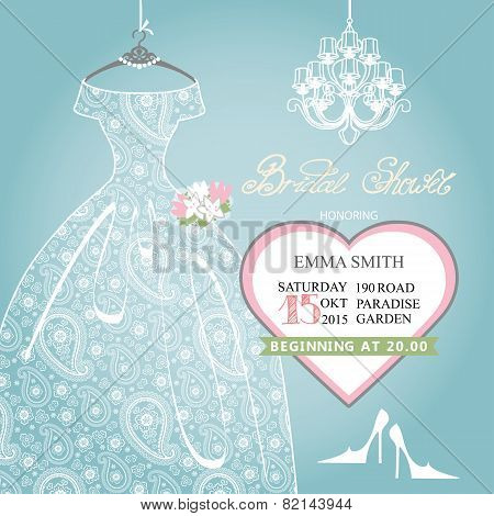 Bridal shower invitation.Wedding lace dress on hanger