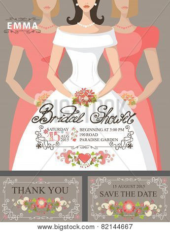 Bridal shower invitation set.Bride,bridesmaids,floral decor