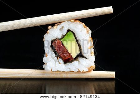 Extreme Close Up Of Tuna And Avocado Uramaki.