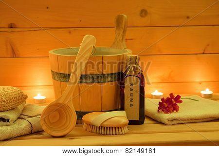 Wooden Sauna and Accessories Set