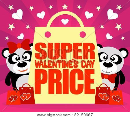 Super Price Valentine's day card with pandas