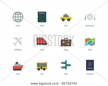 Travel color icons on white background.