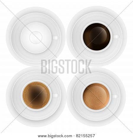 coffee cup assortment top view collection. Vector eps10 illustration