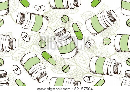 Health and Nature Supplements Collection.  Seamless pattern with herbs and pills.  Noni Fruit   - Morinda Citrifolia poster