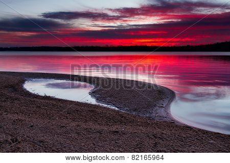 Sunrise On A Sandy Shoreline Of Longview Lake In Kansas City