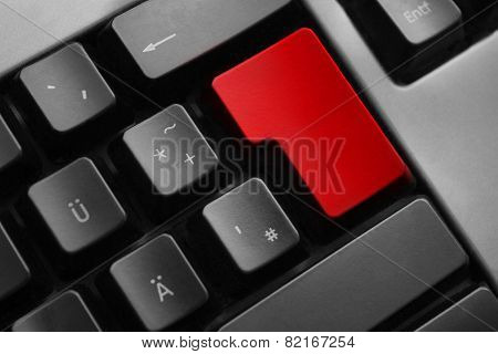 Grey Keyboard Empty Red Enter Button