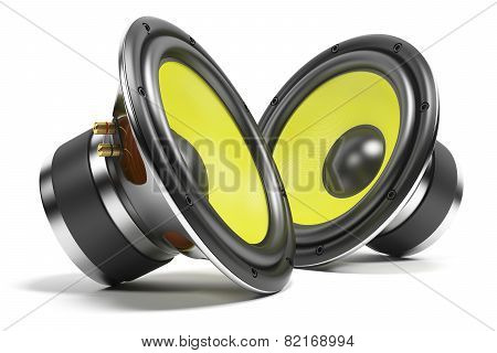 Kit of sound speakers isolated on white background poster