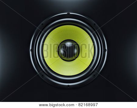 Musical Sound Speaker On Black Background