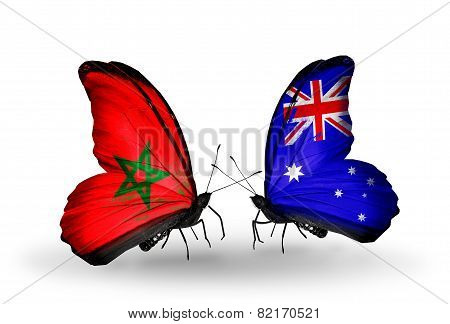 Two Butterflies With Flags On Wings As Symbol Of Relations Morocco And Australia