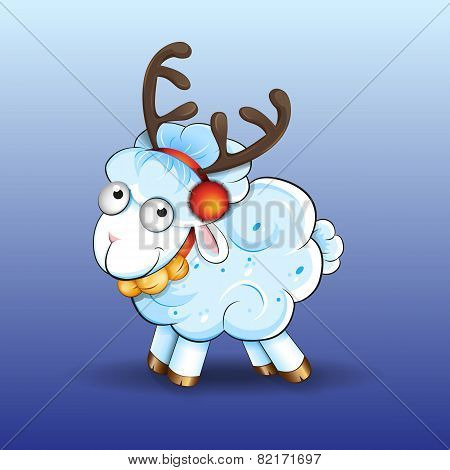 Vector sheep with deer horns and bells