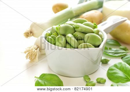 Fava Beans And Ingredients For Cream Soup On White