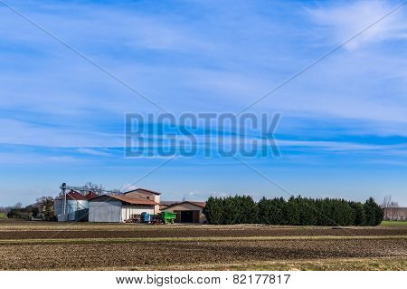 Agricultural landscape with farm and agricultural tools poster