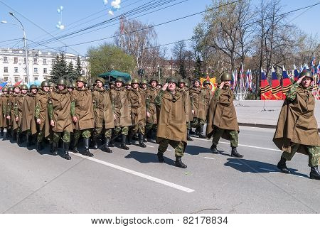 Tyumen, Russia - May 9. 2009: Parade of Victory Day in Tyumen. Army parade - Group of military force soldiers on parade poster