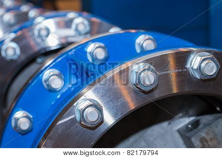 Few flanges with bolts and nuts
