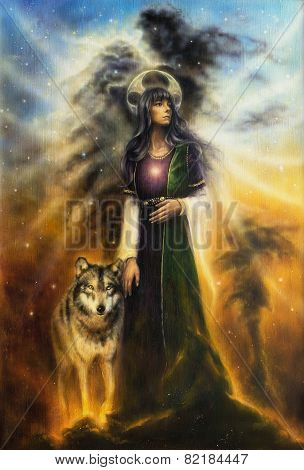 A Beautiful Oil Painting On Canvas Of A Mystical Fairy Priestess With A Wolf By Her Side