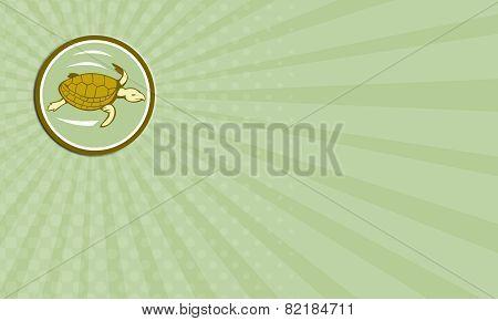 Business Card Sea Turtle Swimming Circle Cartoon