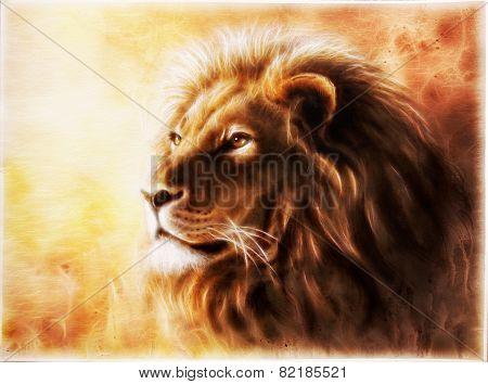 Lion Fractal animals king  illustrationon orange ocher background