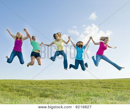 5 Girls Jumping In The Air