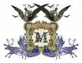 Luxuriously illustrated old capital letter M with two girl flying to the two owl and two hunter. poster