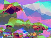 abstract broken glass pieces in garish color, geometric shades and lines, fractalised poster