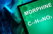 Tablet with the chemical formula of Morphine. Drugs and Narcotics poster