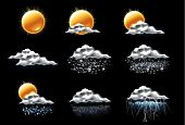 Set of the weather forecast related icons poster