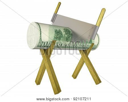 Conceptual Image Of The Cut Funds. Isolated On White Background