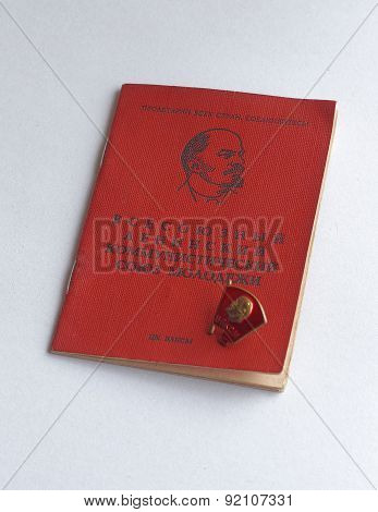 Komsomol Card Marked With A Member Of The Komsomol Period Of The 1980S.