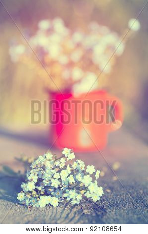 Retro summer background with forget me not flowers in a jar on wooden background