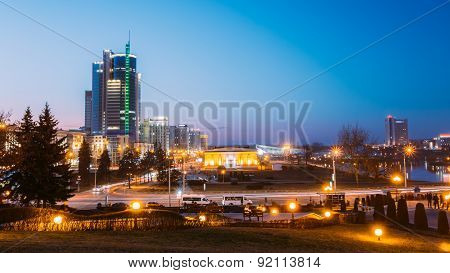 Business Center Of Minsk At Night Scene Street. Building, Downtown