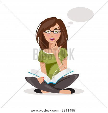 Girl Thinking. Vector Illustration