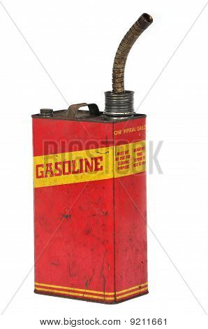 Vintage Retro Metalic Fuel Container Isolated On White
