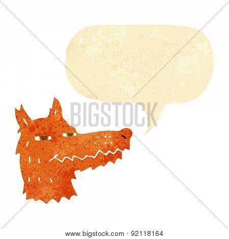 cartoon smug fox face with speech bubble