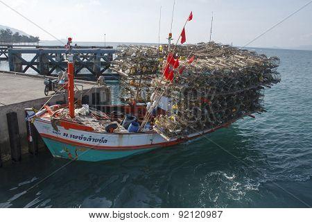 Koh Phangan, Thailand Lobsters Fishing Boat
