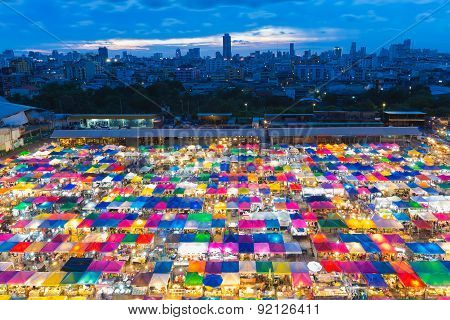 Beauty of Bangkok aerial view free market