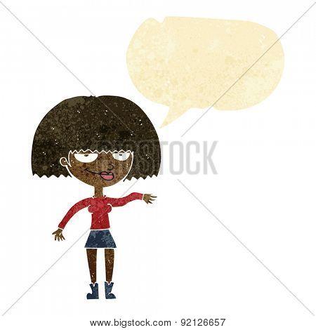 cartoon smug woman making dismissive gesture with speech bubble