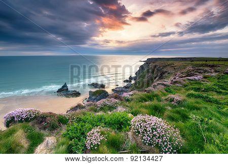 Setting Sun On The Cornwall Coast
