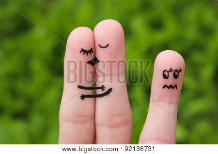 Finger art of a Happy couple. The happy couple kissing and hugging.