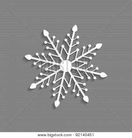 white snowflake icon isolated on dark grey background