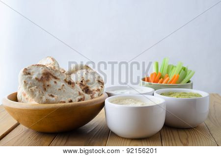 Dip Selection Bowls With Crudites And Mini Pittas