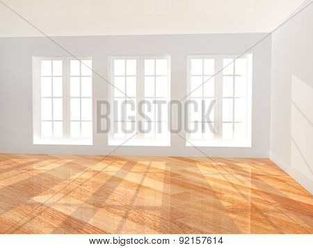 Empty room with new parquet floor
