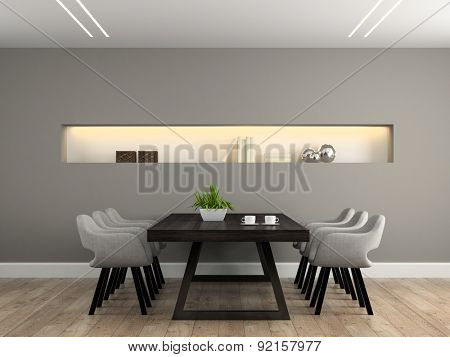 Modern interior dining room with table 3D rendering