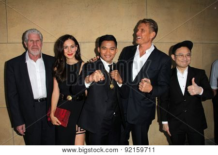 LOS ANGELES - MAY 6:  Ron Perlman, Celina Jade, Tony Jaa, Dolph Lundgren, Ekachai Uekrongtham at the