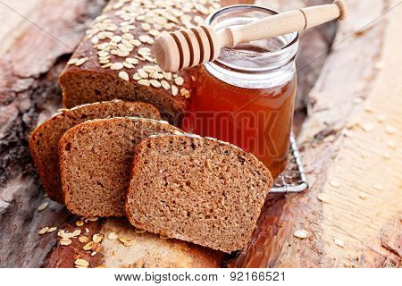 homemade bread with honey and oats - food and drink