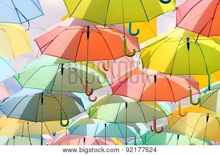 Pastel Umbrellas In Sunshine Day, Closeup