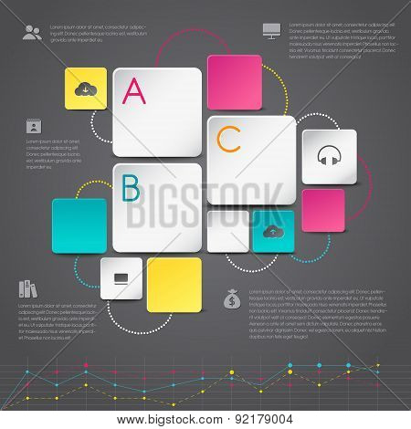 Business Infographic Paper Background Template Design In Geometric Shape With Icons