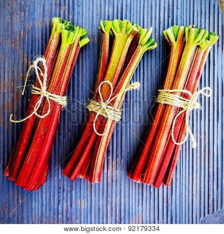 Rhubarb - fresh rhubarb in the kitchen